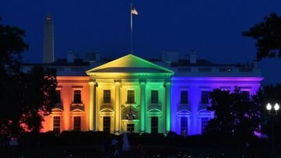 Image result for white house rainbow lights news