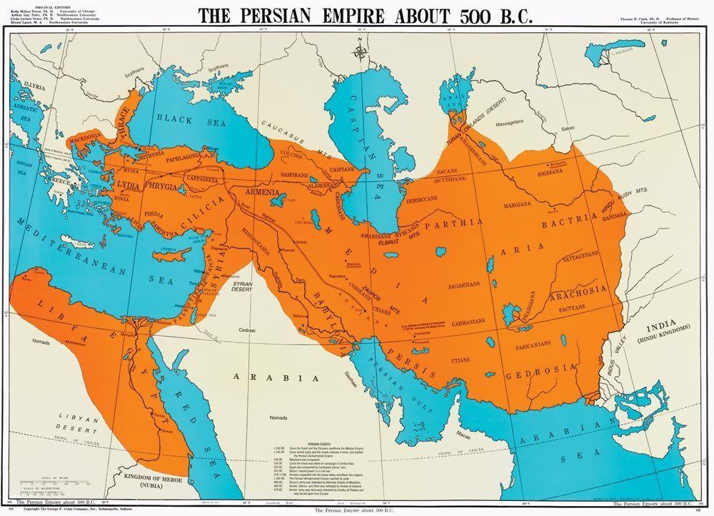 Map of the First Persian Empire (Achaemenid Empire) around 500 …