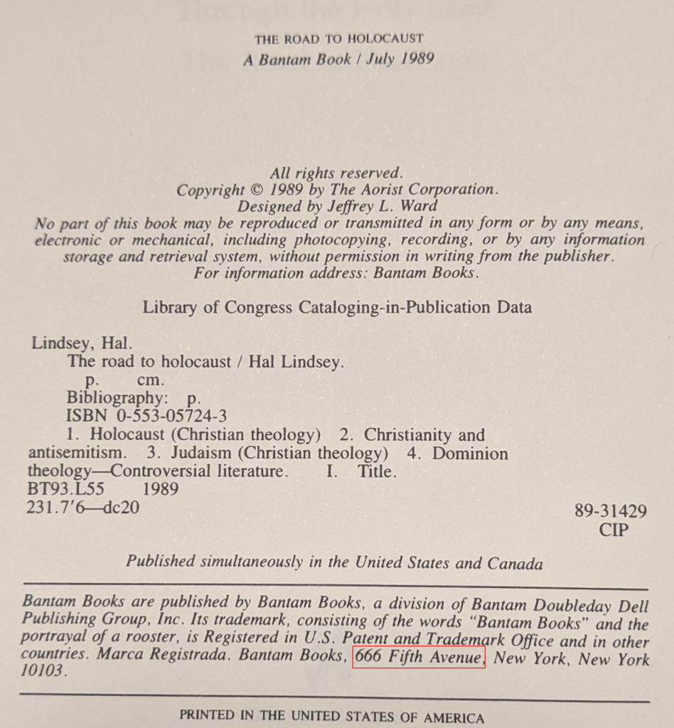 The image is from the copyright page of a Hal Lindsey book showing the address of Bantam books